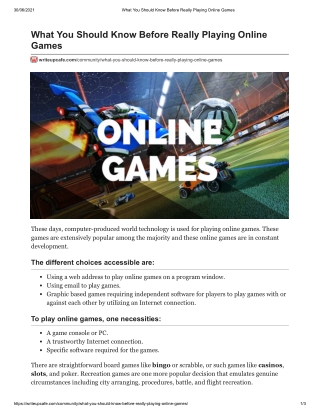 What You Should Know Before Really Playing Online Games