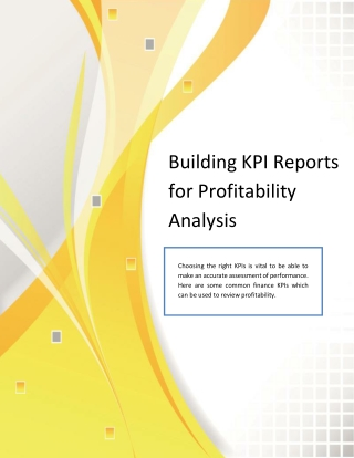 Building KPI Reports for Profitability Analysis