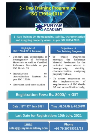 ISO 17034 Training - 2 Days Online Course-10-July-2021