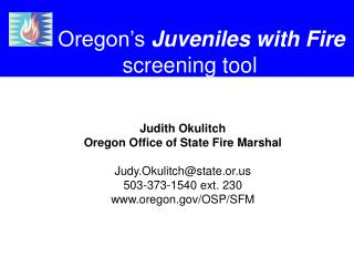 Oregon's Juveniles with Fire screening tool