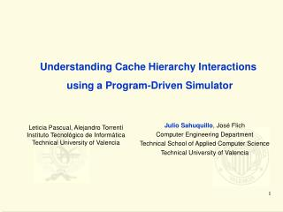 Understanding Cache Hierarchy Interactions  using a Program-Driven Simulator