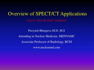 Overview of SPECT/CT Applications