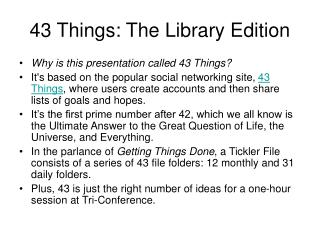 43 Things: The Library Edition