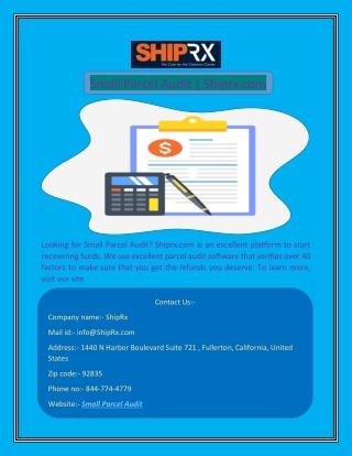 Small Parcel Audit | Shiprx.com