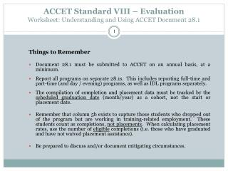 ACCET Standard VIII – Evaluation Worksheet: Understanding and Using ACCET Document 28.1