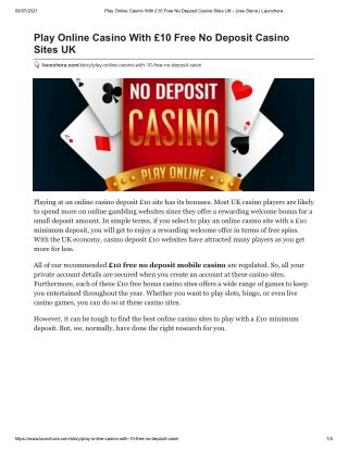 Play Online Casino With £10 Free No Deposit Casino Sites UK