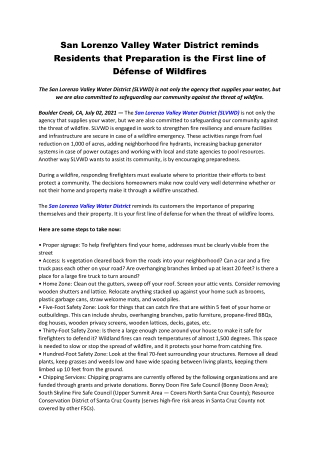 San Lorenzo Valley Water District reminds Residents that Preparation is the First line of Défense of Wildfires