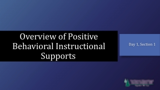 Overview of Positive Behavioral Instructional Supports