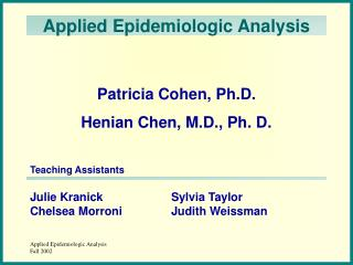 Applied Epidemiologic Analysis