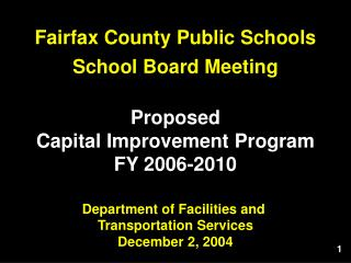 Department of Facilities and  Transportation Services December 2, 2004