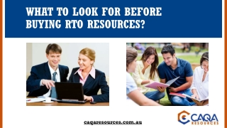 What to look for before buying RTO resources?