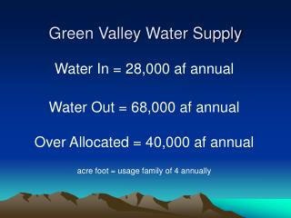 Green Valley Water Supply
