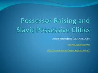Possessor Raising and Slavic Possessive Clitics
