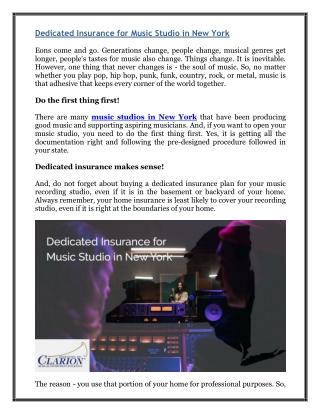 Dedicated Insurance for Music Studio in New York