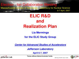 ELIC RD  and  Realization Plan