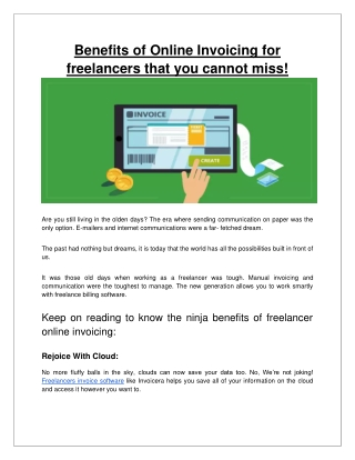 Benefits of Online Invoicing for freelancers that you cannot miss-converted
