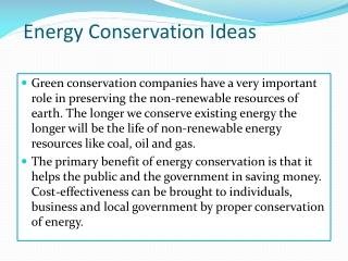 Energy conservation techniques