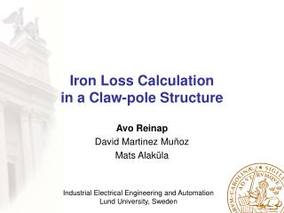 Iron Loss Calculation in a Claw-pole Structure