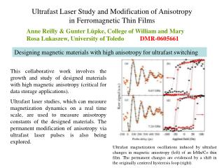 Ultrafast Laser Study and Modification of Anisotropy in Ferromagnetic Thin Films