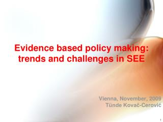 Evidence based policy making: trends and challenges in SEE