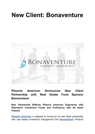 New Client: Bonaventure
