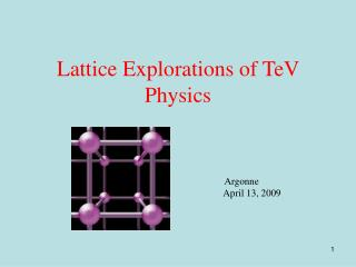 Lattice Explorations of TeV Physics