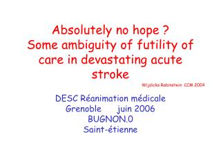 Absolutely no hope ? Some ambiguity of futility of care in devastating acute stroke