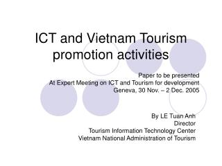 ICT and Vietnam Tourism promotion activities