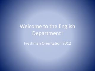 Welcome to the English Department