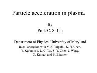 Particle acceleration in plasma