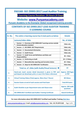 ISO 29993:2017 Lead Auditor Training