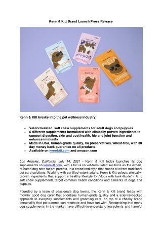 Kenn & Kitt Breaks Into the Pet Wellness Industry