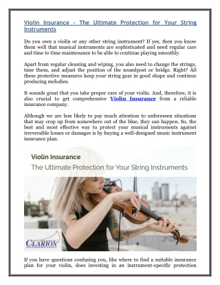 Violin Insurance - The Ultimate Protection for Your String Instruments
