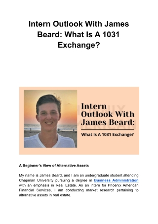 Intern Outlook With James Beard: What Is A 1031 Exchange?