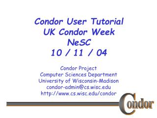 Condor User Tutorial UK Condor Week  NeSC 10 / 11 / 04