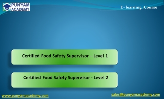 Certified Food Safety Supervisor – Level 1 and Level 2