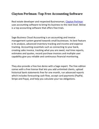 Clayton Perlman - Free Accounting Software