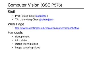 Computer Vision (CSE P576)