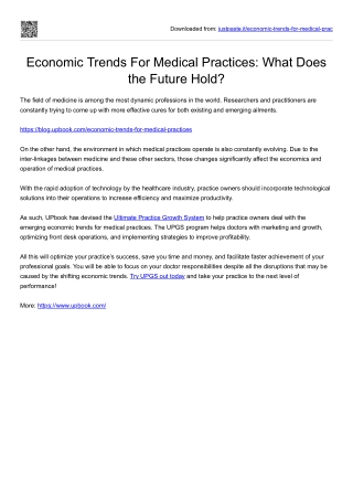 Economic Trends For Medical Practices What Does the Future Hold