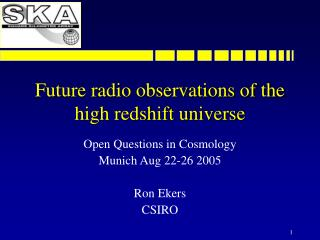 Future radio observations of the high redshift universe