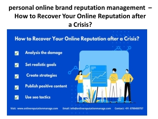personal online brand reputation management  – How to Recover Your Online Reputation after aCrisis