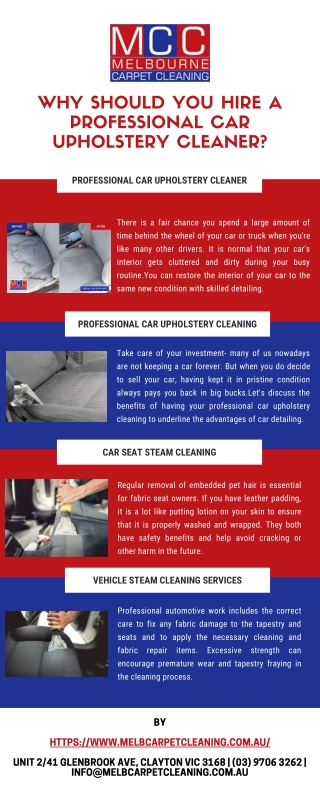 Why should you hire a professional car upholstery cleaner