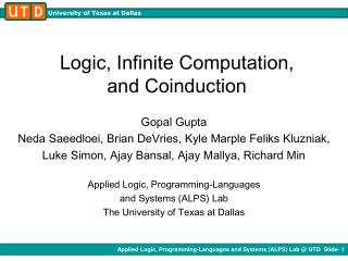Logic, Infinite Computation,  and Coinduction