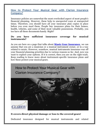 How to Protect Your Musical Gear with Clarion Insurance Company?