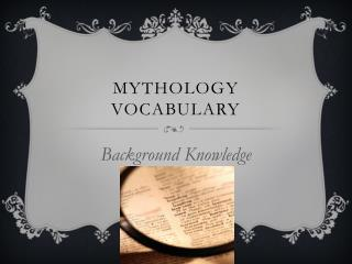 Mythology Vocabulary