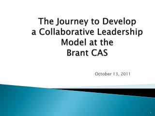 The Journey to Develop  a Collaborative Leadership Model at the  Brant CAS