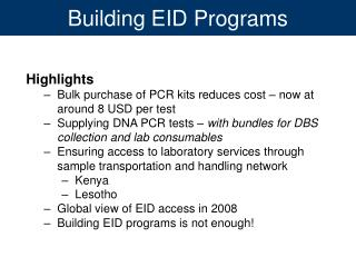 Building EID Programs