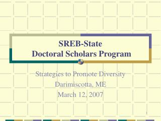 SREB-State  Doctoral Scholars Program