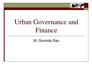 Urban Governance and Finance