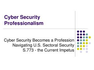 Cyber Security Professionalism